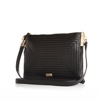 River Island Womens Black quilted square cross body bag