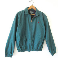 Vintage 90'S POLO Ralph Lauren Forest Green PLAID Lined Canvas Bomber Embroidered Jacket Sz XL