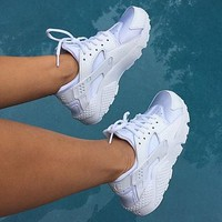 Tagre™ NIKE Women Casual Running Sport Shoes Sneakers Huarache White