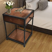 Metal Framed Mango Wood End Table with Drawer and Open Base, Brown and Black