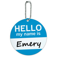 Emery Hello My Name Is Round ID Card Luggage Tag