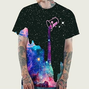 Fashion Casual Men 3D Galaxy Print Tee