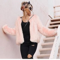 2017 fashion Faux Fur Gilet colete pel warm Winter Pink Faux Fur Coat Waistcoat Plus Size 3XL Furry Thick Faux Fur Jacket gift