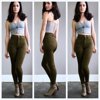 A High Waisted Skinny in Olive