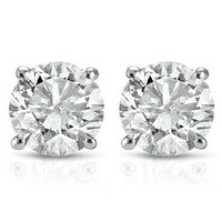 1/2 CARAT TW ROUND SOLITAIRE REAL DIAMOND STUD EARRINGS IN .925 STERLING SILVER