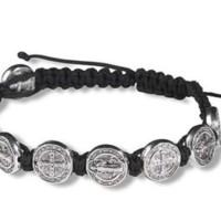 Saint St Benedict of Nursia Silver Tone Medal 8 Inch Adjustable Black Cord Wrist Bracelet