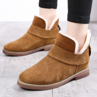 Grind arenaceous ugg boots female leather boots with velvet wool warm cotton shoes with flat sole Brown
