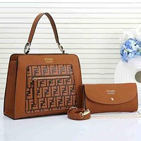 FENDI Fashionable Women Shoppong Bag Leather Satchel Shoulder Bag Handbag Crossbody Two Piece Set Brown I/A