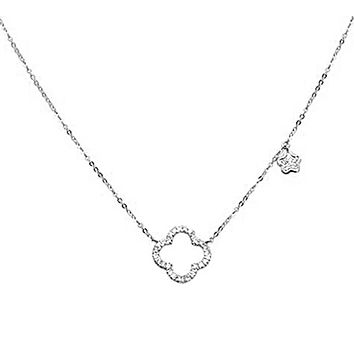 The Alhambra Inspired Classic 14K White Gold Earth Mined Diamond Clover Necklace