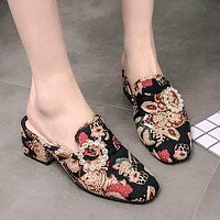 Print Round Toe Low Chunky Heels Slippers