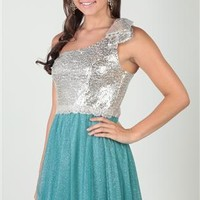 sequin glitter mesh, one shoulder, stone bead appliqué trim waist and circle skirt