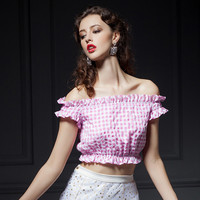 Plaid Pink Strapless Off Shoulder Ruffle Crop Top
