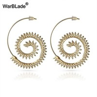 WarBLade New Exaggerated Gold Spiral Hollow Drop Earrings for Women Tribal Round Circle Dangle Earring Vintage Statement Jewelry