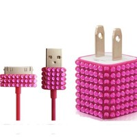 2pc Set Wall Charger + Cable for Iphone 4, 4s - Rhinestone Diamond Bling (Pink)
