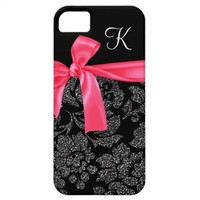 Elegant Glitter Black Damask Girly Hot Pink Bow iPhone 5 Case from Zazzle.com