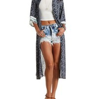 Crochet-Trim Paisley Duster Kimono by Charlotte Russe