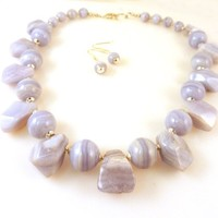 Blue Lace Agate Gemstone Necklace & Earring Set Beaded with Chunky Faceted Nuggets & Sterling Silver