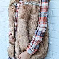 Foxy Moxx Faux Fur Vest With Tribal Trim