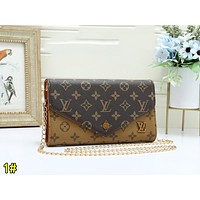 LV Louis Vuitton Popular Women Leather Metal Chain Crossbody Satchel Shoulder Bag 1#