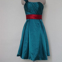 Custom A-line One-shoulder Sleeveless Knee-length Satin Bridesmaid Dress With Sashes Free Shipping