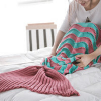 The new wave fight color mermaid blanket tail tail knitted blanket air - conditioning blanket sofa warm blanket Watermelon red