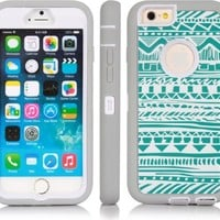 SGM 3316996 Dual Layer Protection High Impact Hybrid Armor Case for iPhone 6 - Grey + Turquoise (Tribal)