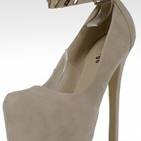 Pazzle KARI-18-8-3 Suede Ankle Strap Platforms   Women Pumps and Heels NUDE Bare Feet Shoes