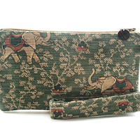 Indian elephant purse with removable handle - a green fabric clutch bag