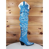 CR Kelsey 21 Rock Star Blue & White Western Slouch OTK Thigh High Cowboy Boot