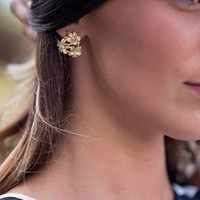 Gold Antique Flower Earrings