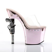 "Pleaser Revolver Gun Heel Chrome Platform Clear Upper  7"" Rhinestone Shoe"