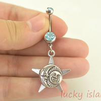 belly ring,sun belly button rings,moon and star bellybutton jewelry,navel ring,body piercing,friendship bellyring