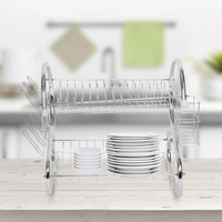 Dish Drying Rack 2 Tiers Home Sink Rack Kitchen Accessories Storage Dish Plate Bowl Cup Drainer Holder Organizer