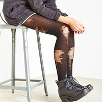 Distressed Rib Opaque Tight- Black