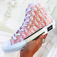 Hipgirls DIOR HIGH -TOP SNEAKER Sneakers transparent plastic skate shoes Women Men Shoes Orange