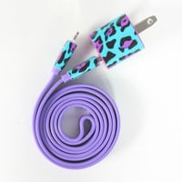 Funky Cheetah on Purple - 3ft iPhone Charger