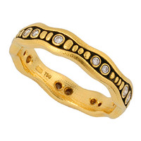 Alex Sepkus Stone Path Stackable Ring in 18K Yellow Gold Featuring 15 White Round Cut Diamonds