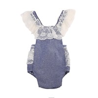 Baby Clothing Cute born Baby Girls Lace Denim Romper Back Cross Jumpsuit Outfits Sun suit