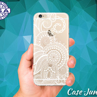 White Henna Flowery Tattoo Flower Design Cute Tumblr Inspired Custom Clear Transparent Rubber Case Cover For iPhone 6 and iPhone 6 Plus +