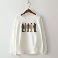 White Fish Embroidery  Long Sleeve Loose Shirt