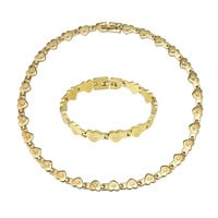 Stampato Heart Link Bracelet 18k Gold Finish Stainless Steel 8 Inch Necklace New