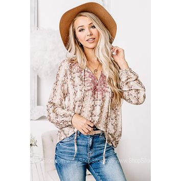 Here For You Sheer Snake Print Top