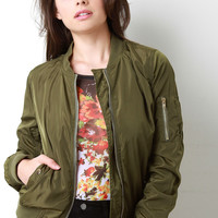 Windbreaker Zip-Up Bomber Jacket
