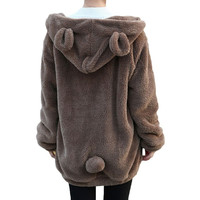 2016 Fashion Women Soft Lovely Bear Ear Fleece Warm Sweatshirts Long Sleeved Drop Shoulder Hooded Hoodies Casual Coat Outwear