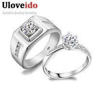 50% off A Pair of Wedding Couple Rings for Men and Women Luxury Silver Color Stone Engagement Ring for Love Jewelry Ulove J473