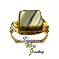 DWJ0278 Lovely Czech Glass Oyster Bay Gold Wire Wrap Ring All Sizes