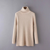 Plain Turtleneck Long-Sleeve Knitted Shirt
