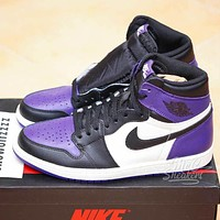 NIKE Air Jordan 1 AJ1 new product stitching color men's and women's low-top sneakers casual shoes Purple