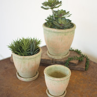 Set of 3 Ceramic Pots with Dish - Mossy Green