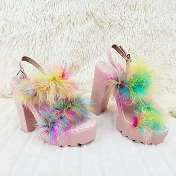 Top Rate Marabou Double Strap Chunky High Heels Platform Sandal Shoes Multicolor